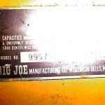 Big Joe 9957 Electric Lift - ID tag